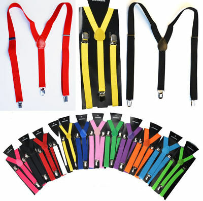 Fashion Unisex Elastic Y-Shape Braces Mens Womens Adjustable Clip-on Suspenders