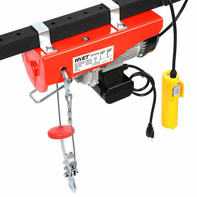 880lbs Mini Electric Wire Hoist Remote Control Garage Shop Overhead Pulley Lift