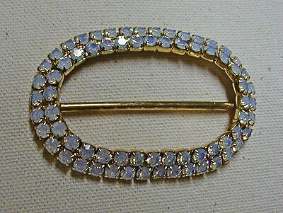 "Vintage Gold Toned Oval Metal Buckle--White Rhinestones--1060's-1 3/4"" X 2 5/8"""