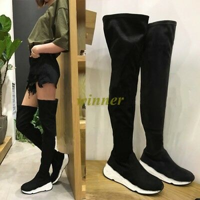 Hot Sale Women's Wedged heel Over the Knee Thigh High Boots Punk Goth Shoes size