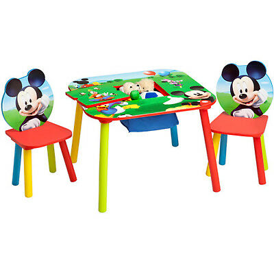 Mickey Mouse Table Set 2 Chairs Storage Center Playroom Bedroom Furniture Disney