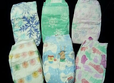 The Honest Company, Assortment of 6 Winter print diapers for Reborn or baby doll