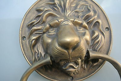 "large Solid Brass LION Door Knocker PULL HANDLE ring 7"" WIDE aged  look NICE B"