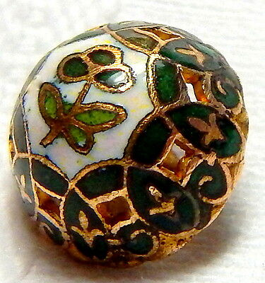 ANTIQUE 19th CENTURY GILT PIERCED DOME JADE & EMERALD CHAMPLEVE ENAMEL BUTTON