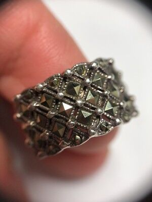 vintage style STERLING SILVER MARCASITE BAND RING SZ 7 ART DECO CHIC Lg Stones