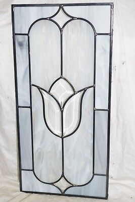 beautiful beveled TULIP leaded STAINED GLASS WINDOW