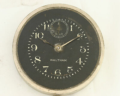 Vintage 1920 Black Dial Waltham Eight 8 Day Car Clock - Parts/Repairs - No Rsv
