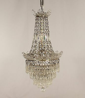 Antique 1 Light Crystal Chandelier with U-drops & Czecho Feathers