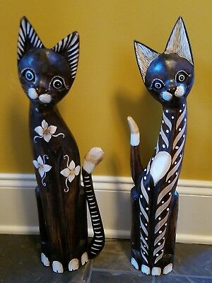 Hand carved wooden cats from Jaimaica