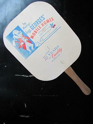 By George Georges Mobile Home Trailers NORTH CAROLINA Vintage 1950s Hand Fan