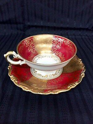 Kunst Kronach Deep Red and Gold Bavaria Germany Tea Cup &Saucer Set by AliceNo25