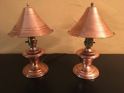 Vintage Hammered Copper Pair of Desk Lamps - Circa 1940's - 50's