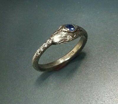 Antique style Sterling Silver Snake / Ouroboros ring with diamonds and sapphire