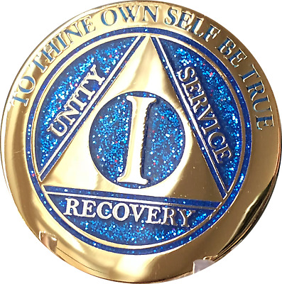 1 Year AA Medallion Elegant Glitter Blue Gold Plated Sobriety Chip Coin One