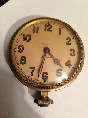 "ELGIN 8 DAY AUTOMOBILE CLOCK, CAR CLOCK, 2 3/4"" Diameter BRASS Very Clean"