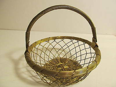 Vintage Brass Wire Rope Basket with Handle.