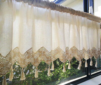 Country Cottage Home Kitchen Window Linen Hand Crocheted Lace Cafe Curtain