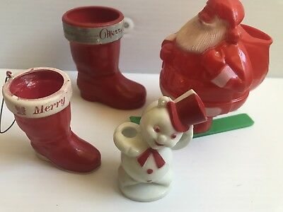 Vintage E Rosen A Christmas Boot frosty snowman Santa skis hard candy container