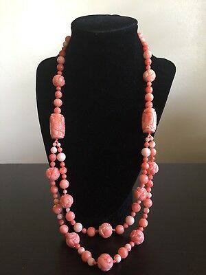 Antique Chinese Carved Pink Angel Skin Coral Shou Beaded 14K Gold Art Necklace