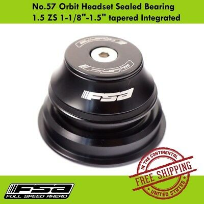 """FSA Orbit No.57 Sealed Bearing 1.5 ZS 1-1/8""""-1.5"""" Tapered Integrated Headset"""