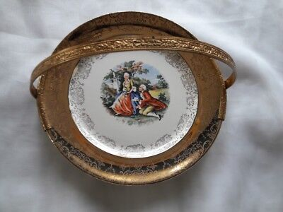 """CREST-O-GOLD. SABIN.Courting Colonial Couple/22 kt Gold/8"""" Handled Serving Dish"""