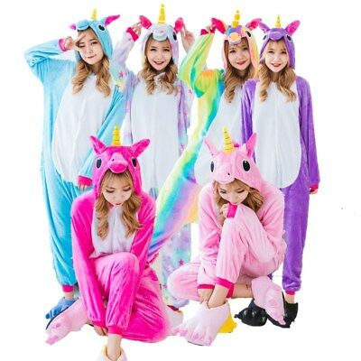 Unisex Cartoon Costumes Jumpsuits Winter Flannel Sleepwear Pajamas Unicorn