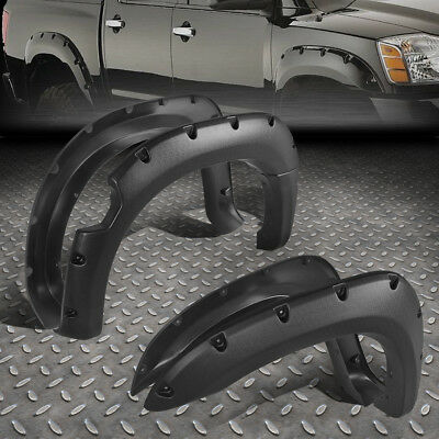 For 2004-2014 Nissan Titan Pocket-Rivet Style Wheel Fender Flares Texture Black