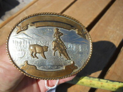 Vintage Comstock German Silver Cowboy Penning Cutting Trophy Western Belt Buckle