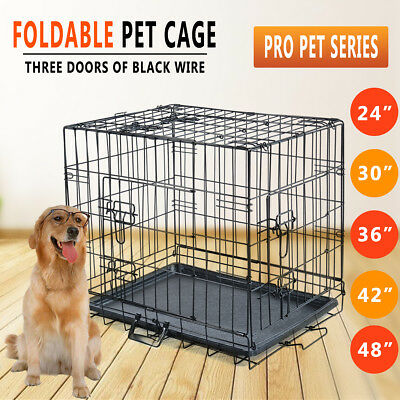 "24"" 30"" 36"" 42"" 48"" Dog Pet Cage Collapsible Metal Crate Tray Divider Cat Kennel"