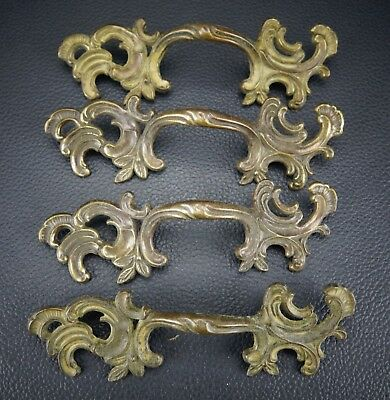 4 Vintage Antique Brass Handle Pull Dresser Drawer Pulls (Lot 1)