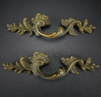 2 Vintage Antique Cast Brass Handle Pull Dresser Drawer Cabinet Pulls (Lot 8)