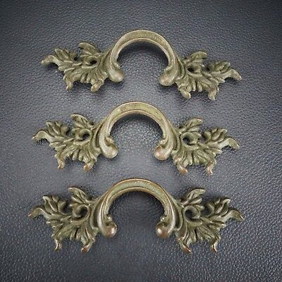 3 Vintage Antique Cast Brass Handle Pull Dresser Drawer Cabinet Pulls (Lot 13)