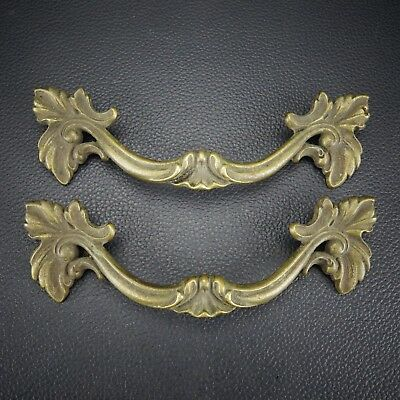 2 Vintage Antique Cast Brass Handle Pull Dresser Drawer Cabinet Pulls (Lot 16)