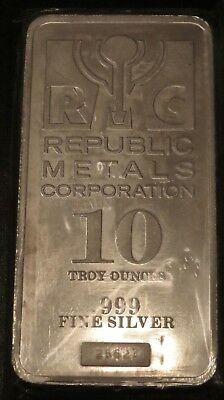 10 Oz Silver Bar - Republic Metals Corp (Rmc) .999 Fine