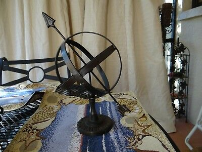 Antique iron armillary sphere garden ornament