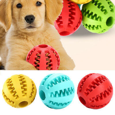 Pet Dog Cat Rubber Ball Chew Treat Training Dental Feed Toy Teeth Cleaning