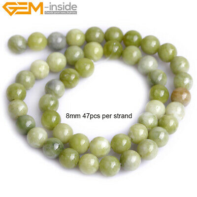Natural Round Green Canada Jade Gemstone Loose Beads Jewelry Making Wholesale