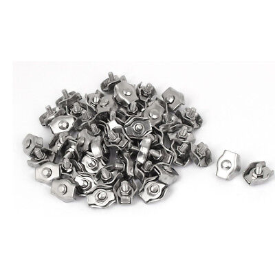 50Pcs 3mm Stainless Steel Simplex Single Bolt Wire Rope Clips Grips Cable Clamps