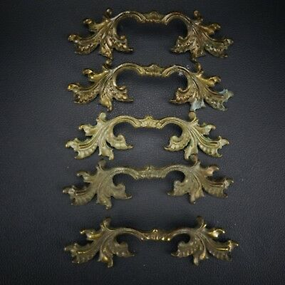5 Vintage Antique Cast Brass Handle Pull Dresser Drawer Cabinet Pulls (Lot 41)