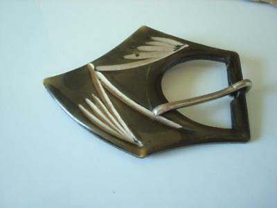 Vintage Art Deco Brown Celluloid Buckle With Beige Design As Found