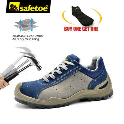 Safetoe Safety Work Shoes Mens Boots Blue Leather Breathable Steel Toe US Stock