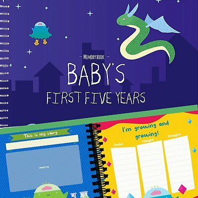 Baby Boy's First Five Years Memory Book | 12 Stickers Included | 5 year album to