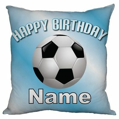 "Personalised Kids Filled Scatter Cushion 18"" Childrens Pillow Blue Football Name"