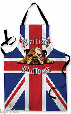 Splashproof Novelty Apron British Bull Dog Cooking Painting Art Kitchen BBQ Gift
