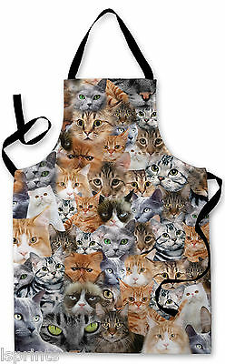 Splashproof Novelty Apron Cats All Over Cooking Painting Art Kitchen BBQ Gift