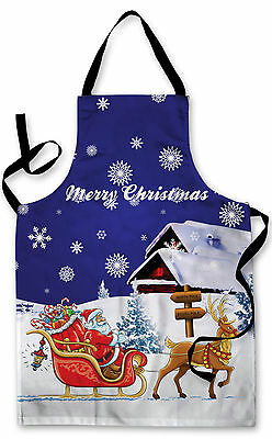 Splashproof Novelty Apron Blue Santa's Sleigh Cooking Painting Art Kitchen BBQ
