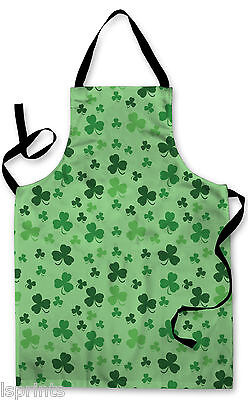 Splashproof Novelty Apron Green Clover Cooking Painting Art Kitchen BBQ Gift