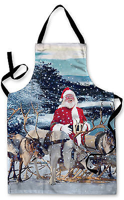 Splashproof Novelty Apron Real Santa & Reindeer Cooking Painting Art Kitchen BBQ