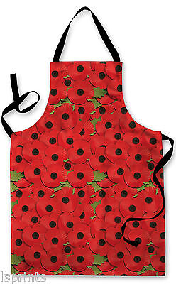 Splashproof Novelty Apron Poppies All Over Cooking Painting Art Kitchen BBQ Gift