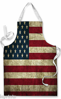 Splashproof Novelty Apron USA Grunge Cooking Painting Art Kitchen BBQ Gift
